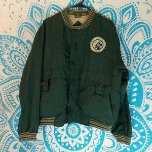 Vintage Windbreaker Coat Large L Green Sport